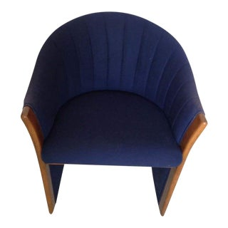 Mid-Century Carved Oak & Navy Upholstered Armchair