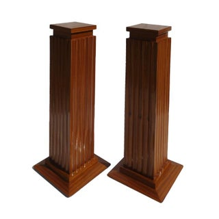 Matched Ribbon Mahogany Pedestals - a Pair