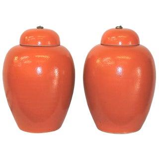 Orange Ginger Jars - a Pair
