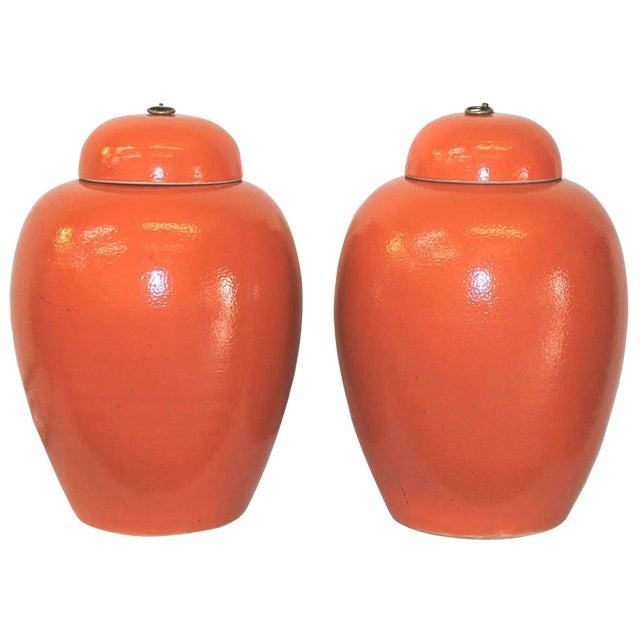 Image of Orange Ginger Jars - a Pair