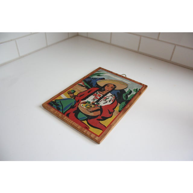 Vintage Mexican Folk Art Painting of a Woman - Image 3 of 4