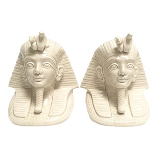 Vintage Fitz and Floyd White Ceramic Pharaoh Bookends - A Pair