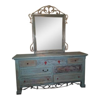 Refinished Blue Solid Wood Dresser and Mirror