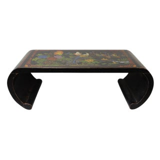Chinese Black Color Flower Birds Scroll Table Stand