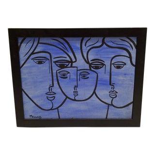 "Circa 1970 M. Flowers ""Family Faces"" Original Painting"