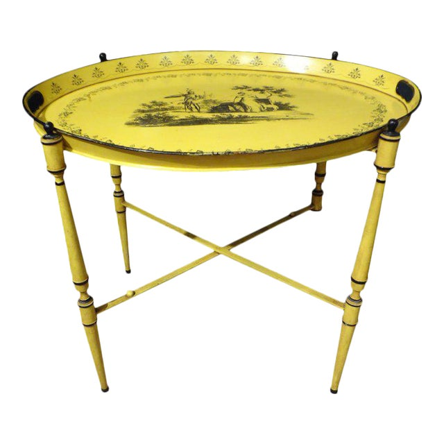 Italian Neoclassical Style Tole Tray Table - Image 1 of 7