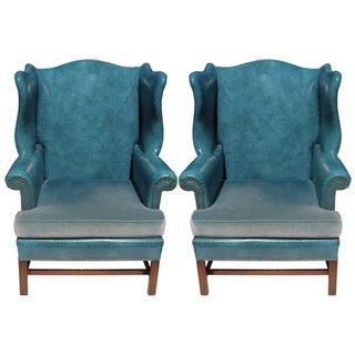 Wingback Chairs in Blue Vinyl & Velvet - A Pair
