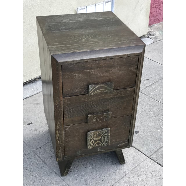 Image of Paul Frankl Style Cerused Brown 3 Drawer Nightstand