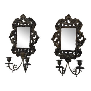 Antique Brass Repousse Mirror Candle Wall Sconces - Pair