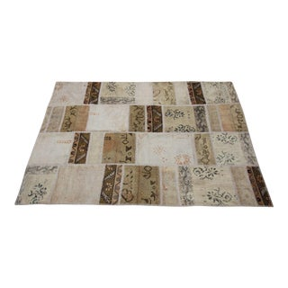 Vintage Turkish Patchwork Oushak Rug - 5′10″ × 8′5″