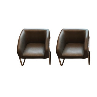 Milo Baughman Style Club Chairs - A Pair