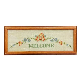 "Vintage Framed ""Welcome"" Needlepoint Art"