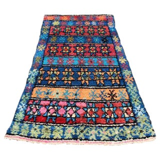 """Vintage Moroccan Hand-Knotted Rug - 3'7"""" x 7'3"""""""