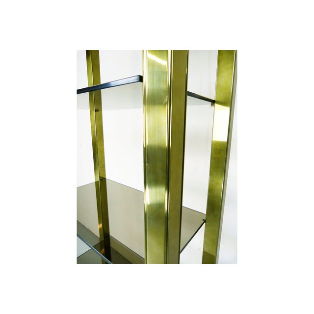 Vintage Brass & Smoked Glass Four-Shelf Étagère - Image 4 of 5