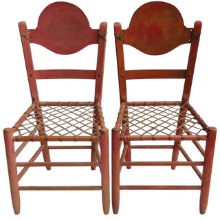 Primitive Folk Art Chairs With Woven Rawhide