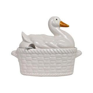 Basket-Weave Duck Tureen