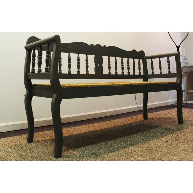 Painted Country French Triple Rush Seat Bench - Image 4 of 11