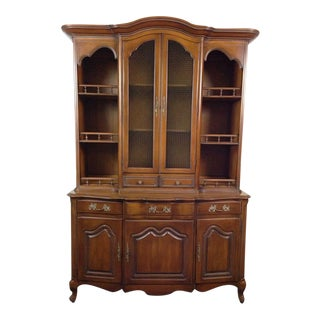French Provincial-Style Oak Hutch