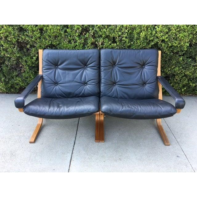Image of Vintage Westnofa Safari Leather Loveseat