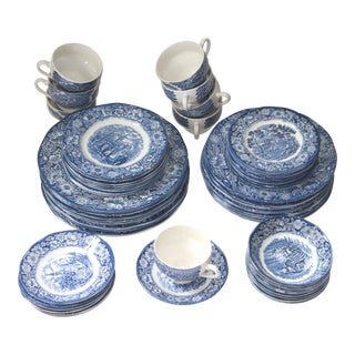 Liberty Blue Staffordshire Transfer Ware Dinnerware - Set for 8