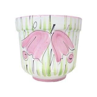 Italian Pink Floral Ceramic Planter