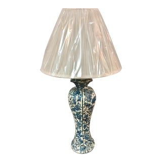 French Decoupage Blue & White Lamp