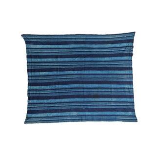 """Square Indigo Blue Striped Throw - 3'11"""" x 4'9"""""""
