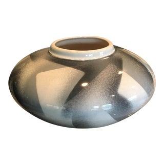 Vintage Large Geometric Black Grey & White Vase