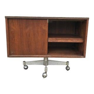 Mid-Century Walnut Rolling Cabinet