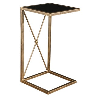 Gold Metal With Black Glass Side Table