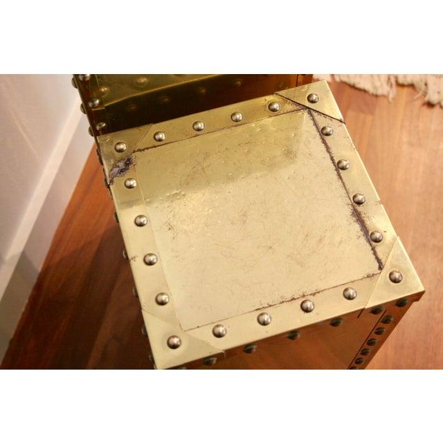 Sarreid-Style Brass Studded Pedestals - A Pair - Image 7 of 11