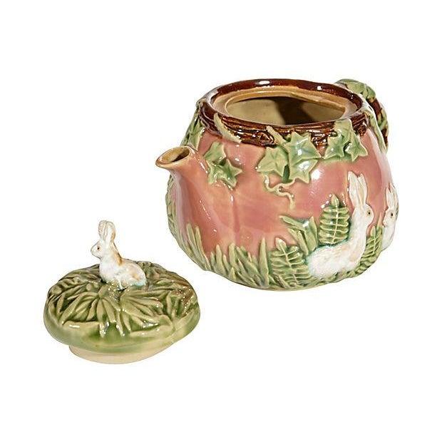 Image of Majolica-Style Rabbit Motif Tea Set