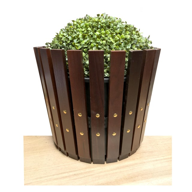 Customizable Plantum Stained American Hardwood Modular Planter Cover with Brass Rivets - Image 2 of 3