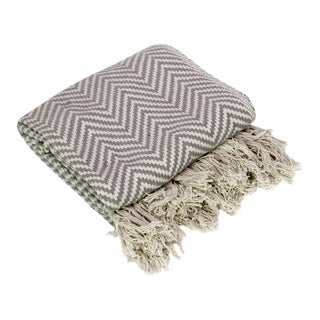 Charcoal Cotton Chevron Throw