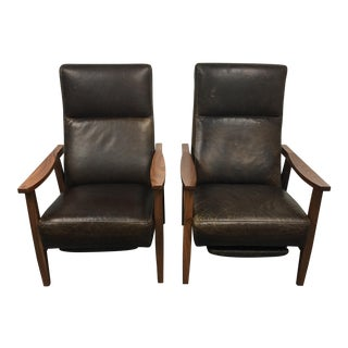 Crate & Barrel Green Leather Recliners - A Pair