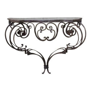 19th Century Wrought Iron Console with Iron Top