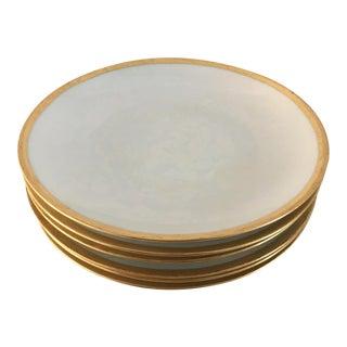 Vintage R/S Germany Lusterware White/Gold Rim Bread Plates - Set of 6