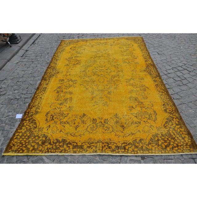 Image of Turkish Handmade Yellow Rug - 5′8″ × 9′6″