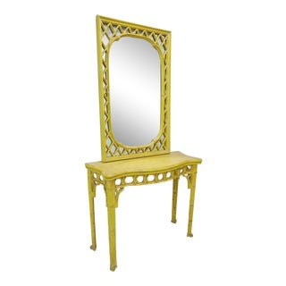 Chinoiserie Yellow Console Table & Mirror