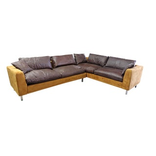 Suede Leather Brown & Gold Brazilian Modern Sectional