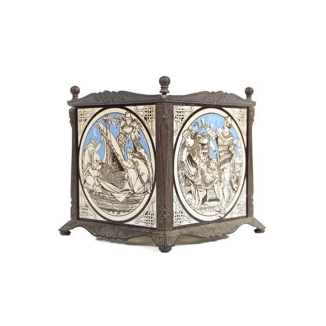 19th C. Minton Ceramic Tiles in a Bronze Jardiniere - Image 7 of 9