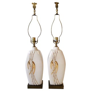 Vintage Faux Bamboo Table Lamps - A Pair