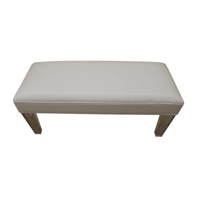 White Leather Bench With Acrylic Legs Chairish