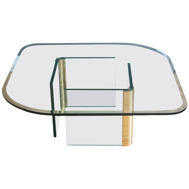 Vintage Pace Collection Rounded Glass Brass Coffee Table - Image 1 of 10