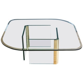 Vintage Pace Collection Rounded Glass Brass Coffee Table