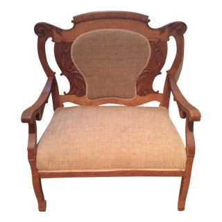 Antique Victorian Brown Oak Chair