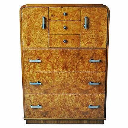 Image of 1930's Art Deco Burlwood Highboy Dresser
