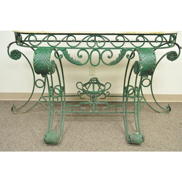 Italian Regency Style Green Wrought Iron Marble Top Console Table - Image 5 of 11