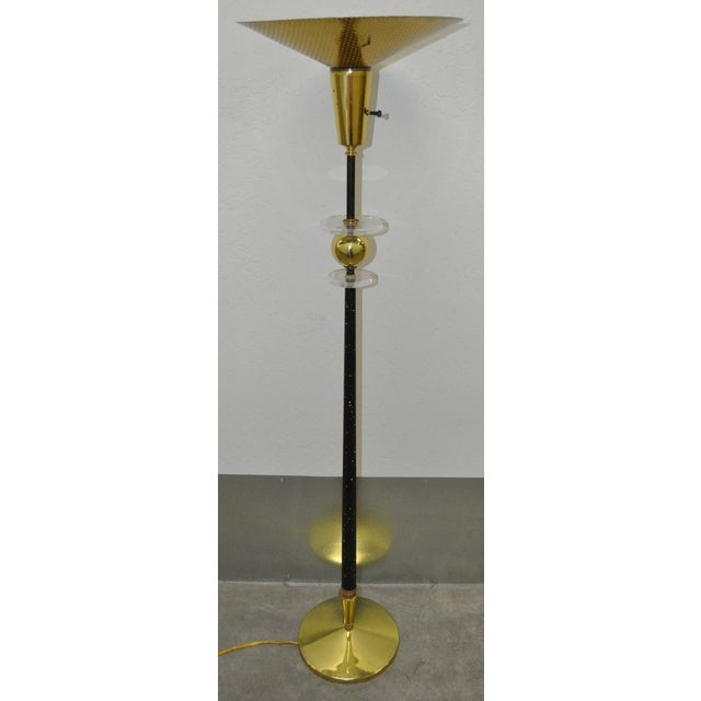 Image of Vintage Speckled Iron Lucite & Brass Floor Lamp