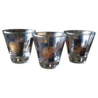 Mid-Century Atomic Starburst Shot Glasses - S/3